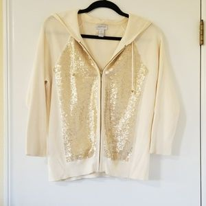ZENERGY by CHICO'S Hooded Gold Sequin Jacket